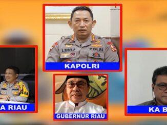 Ket : Kapolda Riau saat virtual bersama Kapolri serta Gurbri dan KA BPBN meluncurkan aplikasi berbasis teknologi (foto/istimewa)
