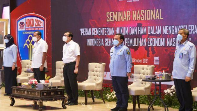 Ket : Seminar Nasional dilaksanakan secara live streaming di Graha Pengayoman Kementerian Hukum dan HAM (foto/Istimewa)