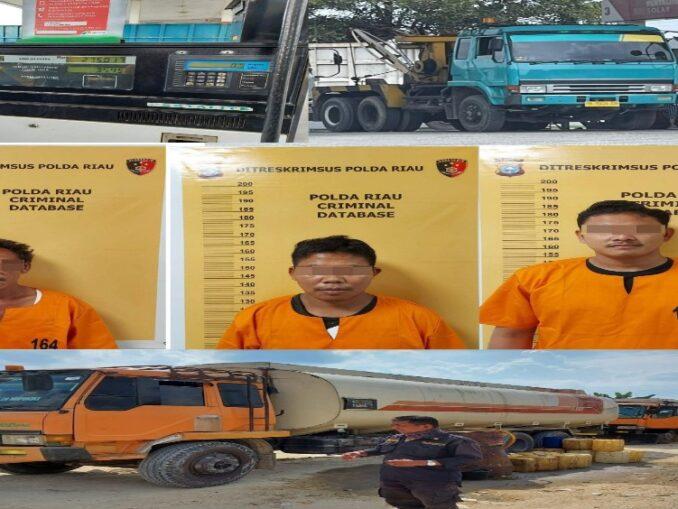 Ket : 3 orang pelaku cencing minyak disubsidi pemerintah jenis Bio Solar di SPBU jalan Duri-Dumai Km 11 Kelurahan Balai Makam Bathin Solapan Bengkalis Riau beserta barang bukti lainnya (Foto/istimewa)