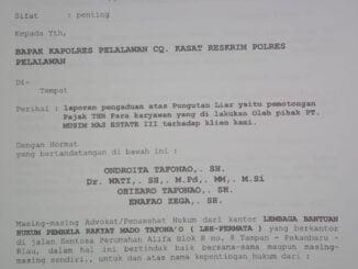 Dokumen pelaporan PT. MUSIM MAS ke polres